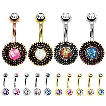 BodyJ4You 14PCS Belly Button Ring Created-Opal Vintage Sheild Navel Body Piercing Jewelry Set 14G