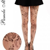 Pamela Mann Floral Tattoo Tights - Tights, Stockings, Shapewear and more - MyTights.com - The Online Hosiery Store