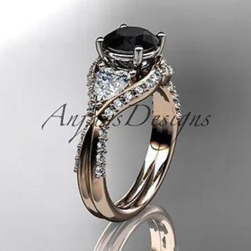 Unique 14k rose gold diamond engagement ring, enhanced Black Diamond ADLR319