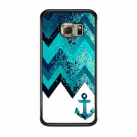 Chevron Navy Anchor Sparkly Samsung Galaxy S6 Edge Case