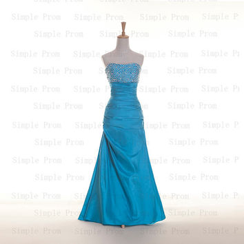 Custom A-line Strapless Sleeveless Floor-length Taffeta Sequins Fashion Prom Dress Bridesmaid Dress Formal Evening Dress Party Dress 2013
