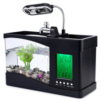 2016 New USB Mini Fish Tank Desktop Electronic Aquarium Fish Tank with Water Running LED Pump Light Calendar Clock White&Black