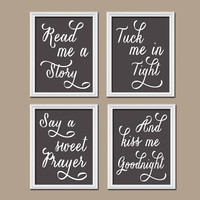 Charcoal Gray Kiss Me Goodnight Quote Crib Chalkboard NURSERY Song Print Artwork Set of 4 Prints WALL Baby Decor ART Picture