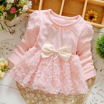 Fashion Autumn Long Sleeved Bow Lace Baby Party Birthday girls kids Children's Dresses, Princess Infant  Dress Vestido S3737