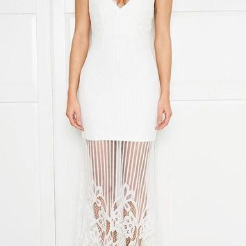 White Patchwork Lace Zipper Sheer Spaghetti Strap Wedding Gowns Party Banquet Maxi Dress