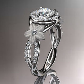14kt white gold diamond leaf and vine wedding ring,engagement ring,wedding band with moissanite center stone ADLR127