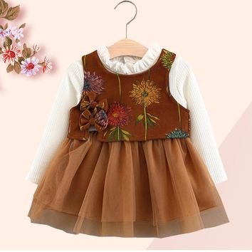 Printing 2017 Baby Dress Sets Autumn Long Sleeve Knit Net Yarn Dress+Three Bow Tie Prints Vest 2Pcs Sets Fashion Girls Clothes