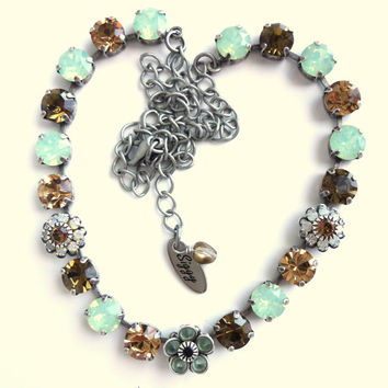 Swarovski crystal necklace, topaz and opals, flower accents, better than sabika