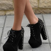 Black lace up ankle boots with stud detail (Fierce) from Chockers Shoes