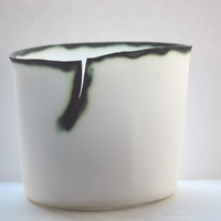 Distorted white vase with English fine bone china with burn looking finish