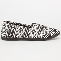 Soda Tribal Print Womens Slip-On Shoes Black/White  In Sizes
