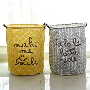 Cotton Linen Zakka Vintage Storage Laundry Basket Large Capacity Yellow Grey Arrow With Handle Crown LinenFold Bin40x50cm