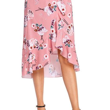Chic Pink Floral Ruffle Wrap Knee-length Skirt