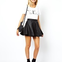 ASOS Skater Skirt in Leather - Black