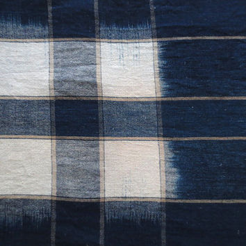 Antique Japanese Deep Indigo Kasuri Ikat Textile Fabric