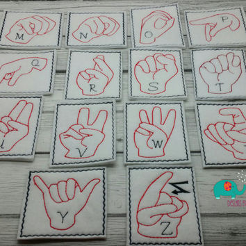 ASL ABC sign language flash cards embroidered on felt, educational, learning toy, game, children, finger spelling, handwirting