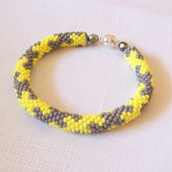 SALE - Bead Crochet Rope Bracelet - Beadwork - beaded bracelet - beaded jewelry - yellow and grey