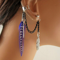 Handmade Unique Ear Cuff Purple Feather Black Chain Non Pierced and Earring