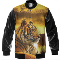 Tiger and Sunset Varsity Jacket