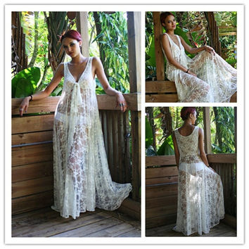 2015 Sexy Women Cover Ups Fashion White Lace Bikini Swimwear Bathing Suit Hollow Out Cover Up Beach Long Dress (Color: White) = 1945994116