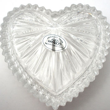 Gorham Lead Crystal Heart Trinket Box Jewelry