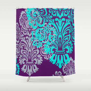 Bold Jewel Tone Damask Shower Curtain, Romantic Bathroom Decor, Custom Shower Curtain, Any Color, Purple and Teal, Lavender