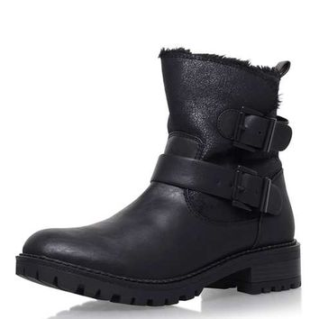 **Snug Black Low Heel Biker Boots by Miss KG - Shoes