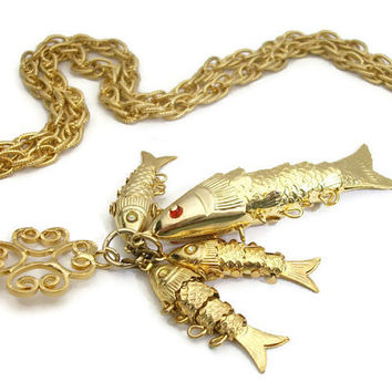 Articulated Fish Pendant Opera Length Statement Necklace Large and Small Gold Tone Fish Detailed Jointed Whimsical Filigree Long Chain