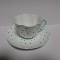 Shelley Vintage Cup and Saucer White with Blue Dots Dainty