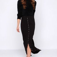 Lucy Love Snapfront Black Maxi Skirt