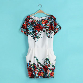 Summer Chiffon Print Stylish Slim With Pocket Short Sleeve One Piece Dress [4917895364]