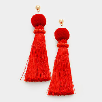 Red Pom Pom Silk Thread Tassel Earrings, Thread Pom Pom Earrings, Silk Thread Earrings