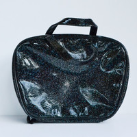Vintage Lisa Frank 90s Black Glitter Makeup Case Bag Black Sparkly Rainbow Glitter Bag Tote