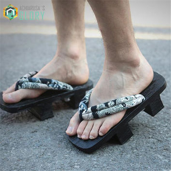 2017 summer Unisex Man High Quality sandals Japanese heel flip-flops man Gate wooden SAMURAI Clogs shoes Cosplay Shoes