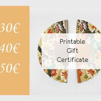 Printable Gift certificate - Olele Gift Card - Multiple values - JPEG files to print at home or email