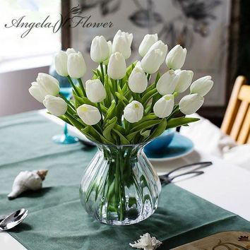 CREYONHS Free shipping 31PCS/LOT pu mini tulip flower real touch wedding flower bouquet artificial silk flowers for home party decoration