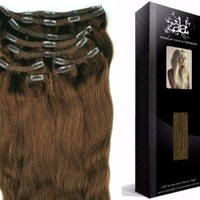 Light Brown Clip in Human hair extensions, Pure Remy hair