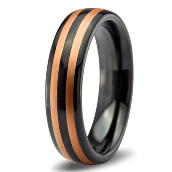 Rose Gold Wedding Band Ring Tungsten Carbide 6mm 18K Tungsten Brushed Ring Man Wedding Band Male Women Custom Black Enemeled Anniversary