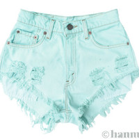 "ALL SIZES ""SEAFOAM"" Vintage Levi high-waisted denim shorts pastel mint green turquoise blue"