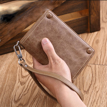 Luxury Top Quality cow 100% Genuine Leather Men Wallets , short style male purse