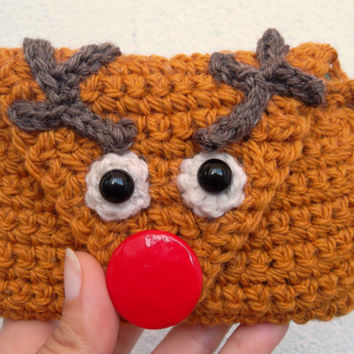Christmas Deer Crochet Zipper Pouch in Caramel Brown, Holiday Gift Idea, Funny Xmas Red Nose Rudolph Phone Case, Elk Antler Money Coin Purse
