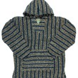 Striped Woven Eco-Friendly Jacket Coat Hoodie (Teal)