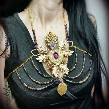 Sacred Heart Statement Harness Bib necklace choker combination Vintage brass Ex Voto Piece