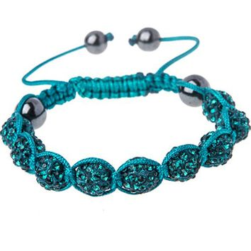 BodyJ4You Disco Balls Bracelet 9 Aqua Beads Pave Crystals Adjustable Wrist Iced Out Jewelry