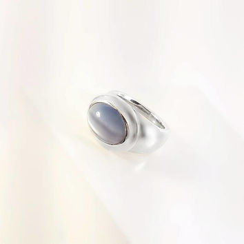 ESPO SIG Cat's Eye Ring - Vintage Sterling Cat's Eye Ring Size 6.75 - Chunky Sterling Ring -  Thick Sterling Cat's Eye Ring