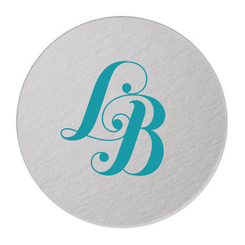 Monogrammed Coasters Wedding Favors Foil Stamped 2 Letter  Monogram Pulpboard Beverage Coasters Personalized Rehearsal Bridal Shower