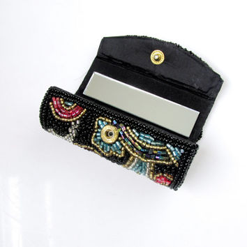 Beaded Lipstick Case With Mirror Multi Color On Black Snap Closure Vintage Collectible Gift Item 2126