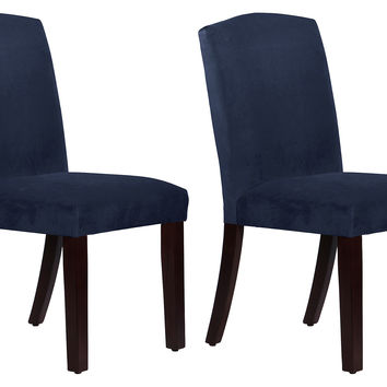 Navy Velvet Indio Side Chairs, Pair, Dining Chair Sets