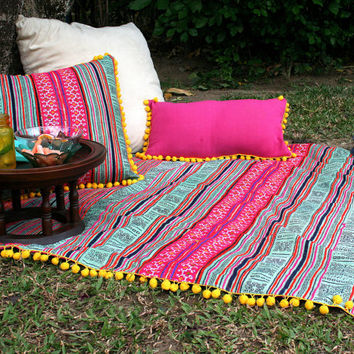 Boho Throw Blanket, Picnic Blanket, Sofa Throw Colorful Hmong Embroidery On Batik With Pom-poms Bohemian Decor
