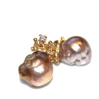 Baroque Pearl Earrings Large Pearl Earrings Pondslime Pearl Natural Pearls Pearl Stud Earrings Crown Earrings Pearl Jewelry FizzCandy